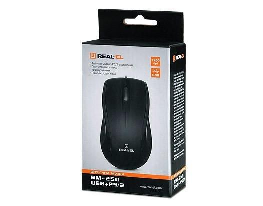 Купить REAL-EL RM-250 USB+PS/2 Black — EL123200003 в Киеве ...