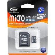 Фотография 1 карты памяти Карта памяти Team microSDHC Class 4 8GB + SD адаптер - TUSDH8GCL403