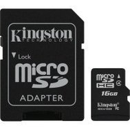 Фото карты памяти Kingston SDHC Class4 16GB + SD адаптер - SDC4/16GB