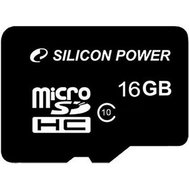 Фото карты памяти Silicon Power microSDHC Class10 16 GB + SD адаптер - SP016GBSTH010V10SP
