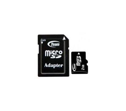 Фото карты памяти Team MicroSD Class 2 2GB + SD адаптер - TUSD2G03