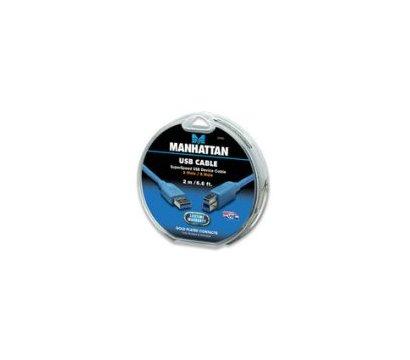 Фото №5 товара Кабель USB 3.0 Intracom Manhattan AM-BM 2.0m Blue, box — 391863