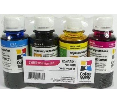 Фото чернила для принтера ColorWay Epson L100/L200 BK/С/M/Y - CW-EU100SET01