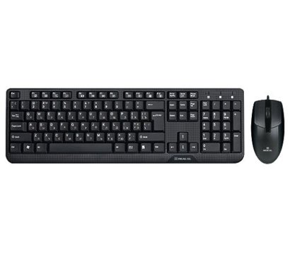 Фото комплекта мышь+клавиатура REAL-EL Standard 505 Kit  USB Black — EL123100013