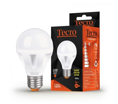 Фото светодиодной LED лампы Tecro T-A60-7W-3K-E27