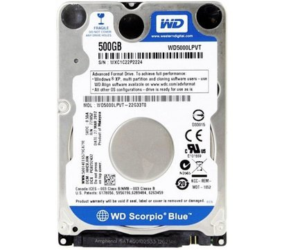 Фото жесткого диска Western Digital Blue 500GB 5400rpm 16MB Buffer 2.5 SATA III — WD5000LPCX