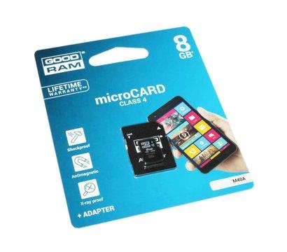 Фото карты памяти GoodRAM MicroSDHC 8GB Class 4 + SD-adapter — M40A-0080R11