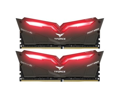 Фото модуля памяти Team T-Force Night Hawk Black LED/Red DDR4 2x16384Mb 3200MHz — THRD432G3200HC16CDC01
