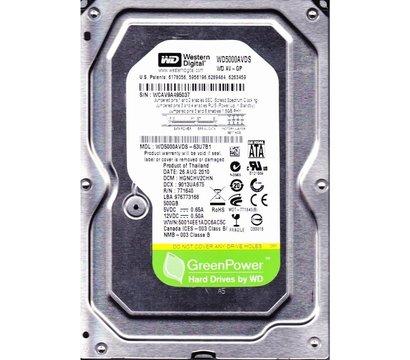 Фото жесткого диска Western Digital AV-GP 500GB 7200rpm 32MB Buffer 3.5 SATA II — WD5000AVDS (восст.)