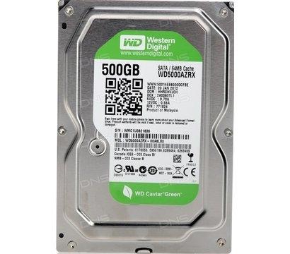 Фото жесткого диска Western Digital Caviar Green 500GB 5400prm 64MB 3.5 SATAIII — WD5000AZRX (восст.)