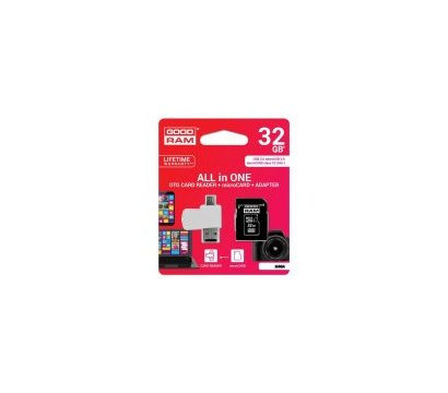 Фото №1 карты памяти GoodRam UHS-I MicroSDHC Class 10 32GB + SD-adapter + OTG Card reader - M1A4-0320R11