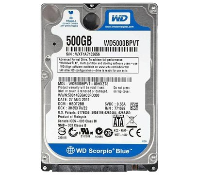 Фото жесткого диска Western Digital Scorpio Blue 500GB 5400rpm 8MB Buffer 2.5 SATA — WD5000BPVT (восст.)