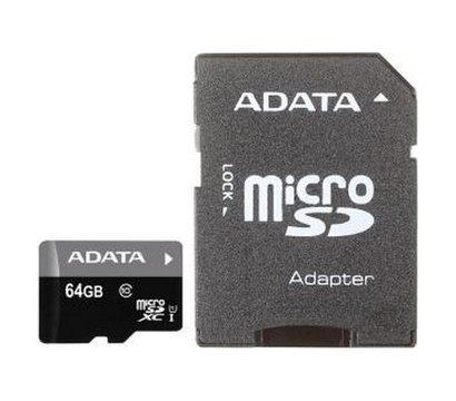 Фото карты памяти A-Data microSDXC Class 10 64GB + SD adapter - AUSDX64GUICL10-RA1