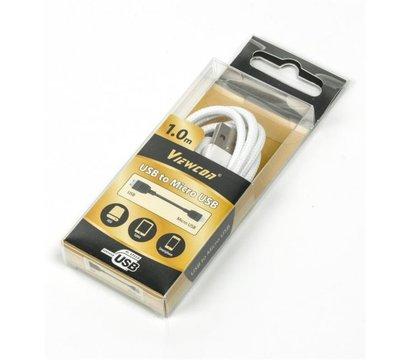 Фото №1 товара Кабель Viewcon USB2.0(M) - microUSB(M), White, 1м — VC-USB2-F-001