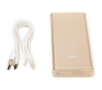 Фото №1 универсальной мобильной батареи PowerPlant Q1S Quick-Charge 2.0 10200mAh Gold