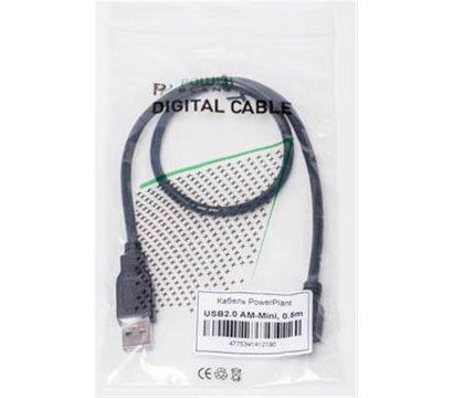 Фото №2 товара Кабель PowerPlant USB2.0(AM)-MiniUSB(AM), 0.5м, Black - KD00AS1219
