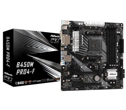 Фото материнской платы ASRock B450M Pro4-F (sAM4, AMD B450, PCI-Ex16)