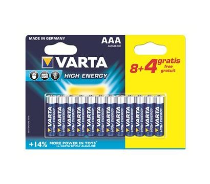 Фото батарейки Varta High Energy AAA/LR03 BL 12(8+4)шт