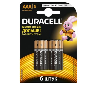 Фото батарейки Duracell Basic AAA/LR03 BL 6шт