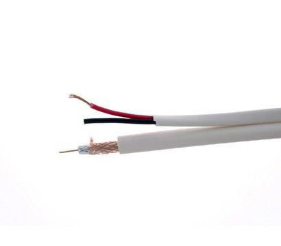 Фото коаксиального кабеля EuroSat RG-59U + 2x0.5 / 64% White